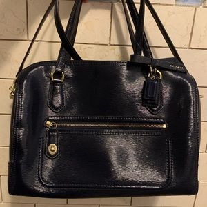 Navy Coach Poppy Textured Leather Satchel